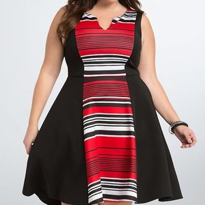 TORRID STRIPED SCUBA SKATER DRESS SIZE 12-14